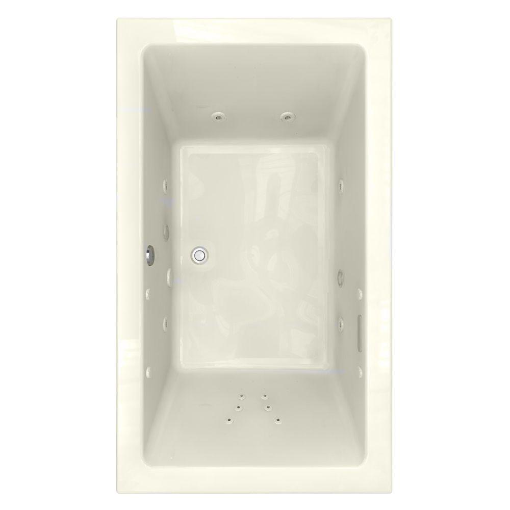 American Standard Studio EcoSilent Chromatherapy 6 ft. x 42 in. Whirlpool and Air Bath Tub with Zero-Edge Profile in Linen