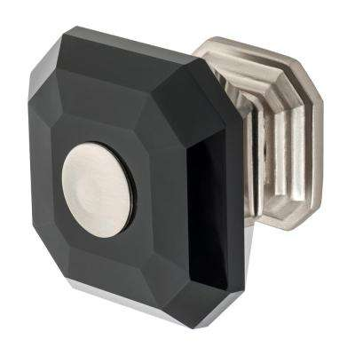 Clubhouse 1-5/16 in. Satin Nickel with Black Crystal Cabinet Knob