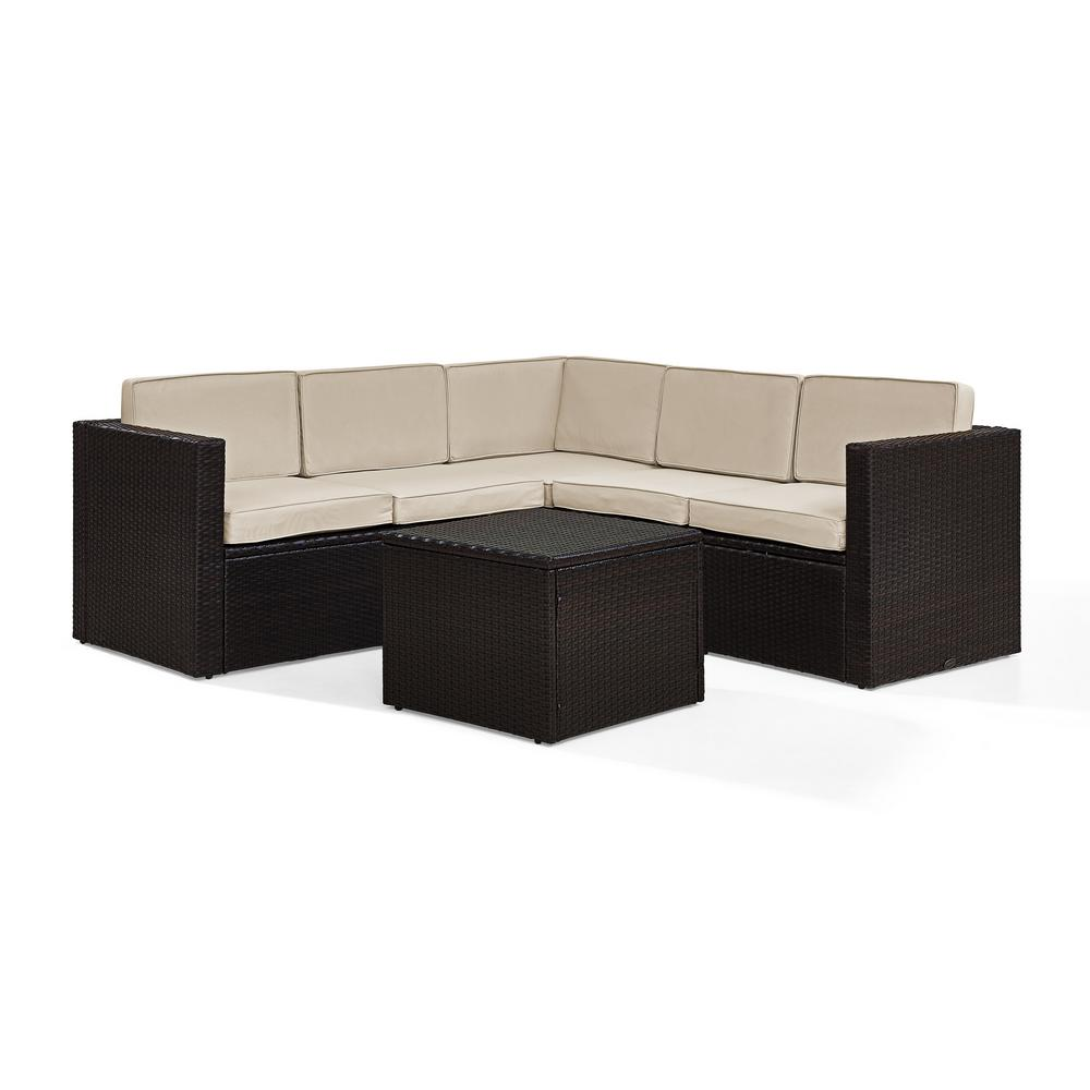 Stupendous Palm Harbor 6 Piece Wicker Outdoor Sectional Set With Sand Cushions Gmtry Best Dining Table And Chair Ideas Images Gmtryco