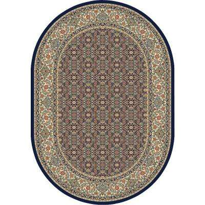 Hughes Black/Ivory 6 ft. 7 in. x 9 ft. 6 in. Indoor Oval Area Rug