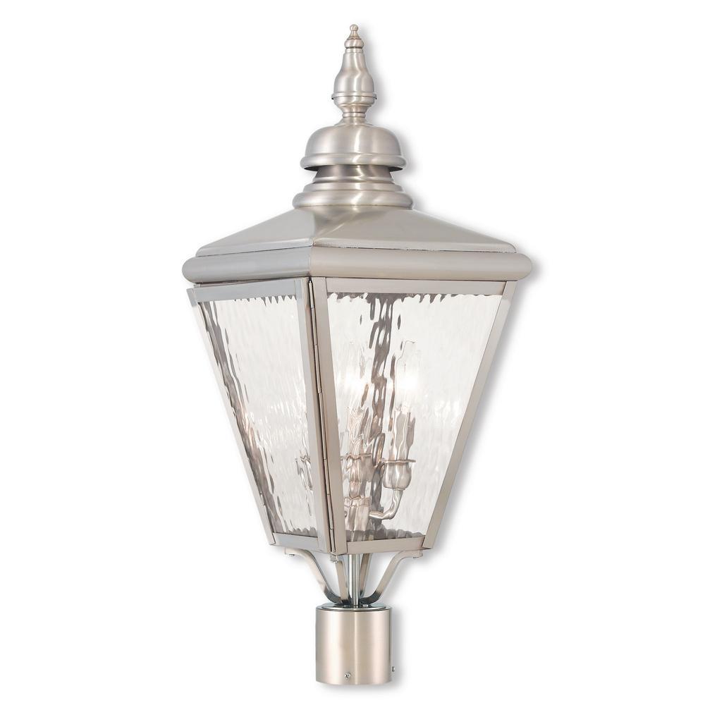 Cambridge 3-Light Outdoor Brushed Nickel Post Light