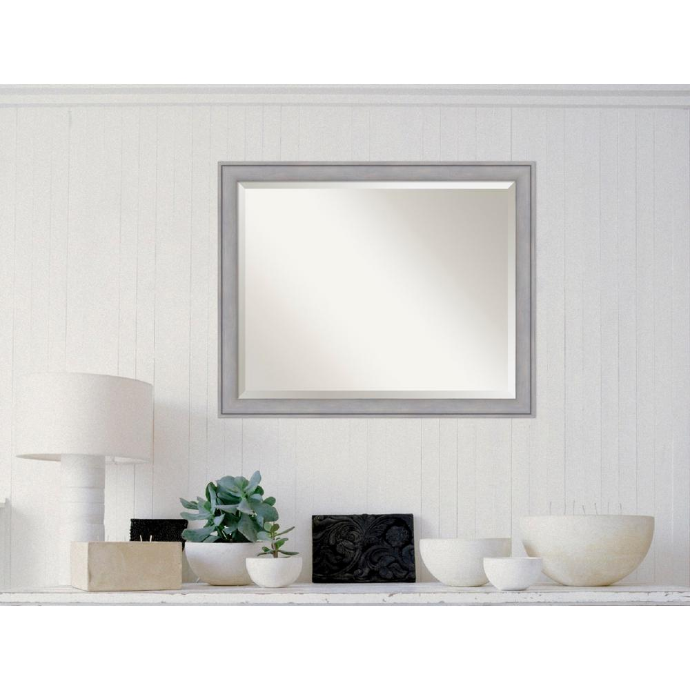 Graywash Wood 31 in. W x 25 in. H Contemporary Framed