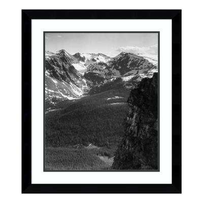 """""""View of snow-capped mountain, in Rocky Mountain Nat Park, CO, ca. 194"""" by Ansel Adams Framed Wall Art"""
