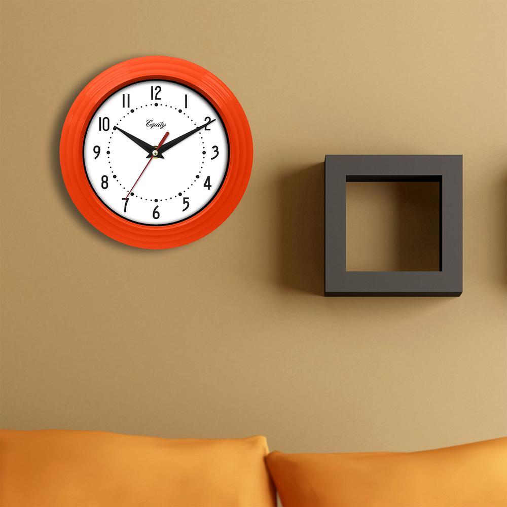 Equity by La Crosse 8 in. x 8 in. Round Orange Plastic Wall Clock