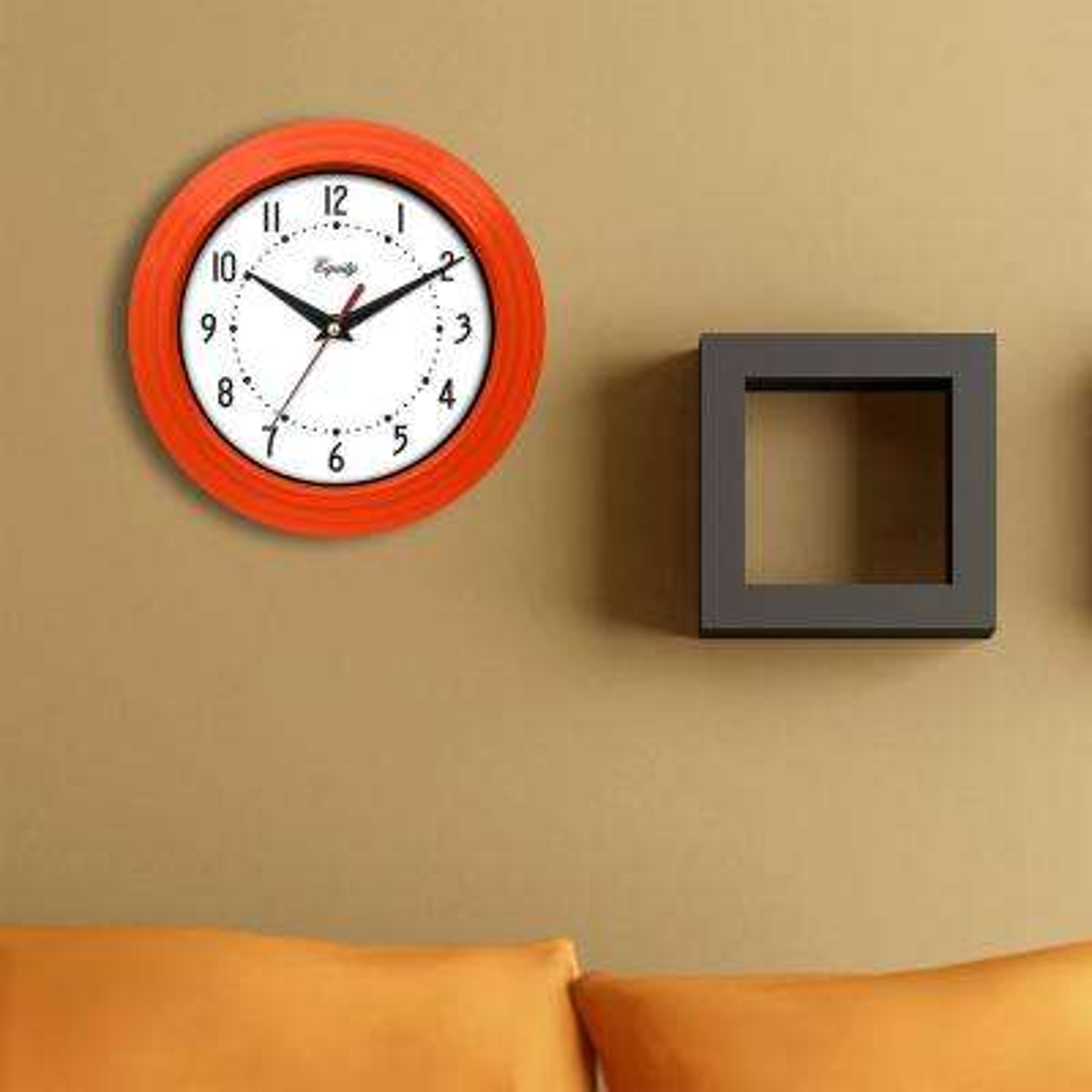 8 in. x 8 in. Round Orange Plastic Wall Clock