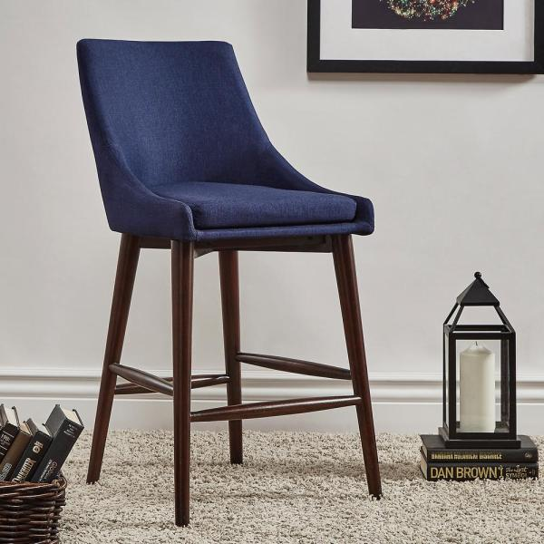 a14faad212dc Nobleton Twilight Blue Mid Century Bar Stool (Set of 2) 405048-24TBL2P -  The Home Depot