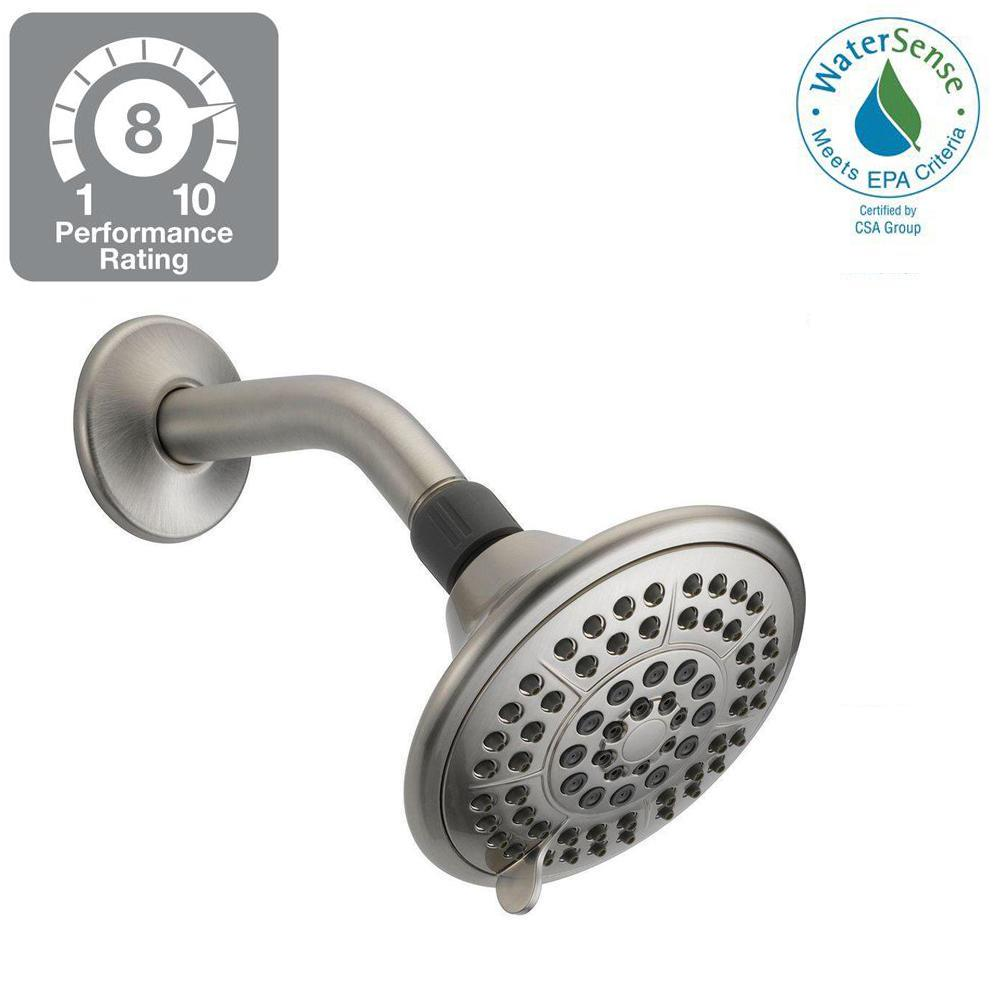 Delta 5-Spray 5 in. Fixed Shower Head with Pause in Brushed Nickel ...