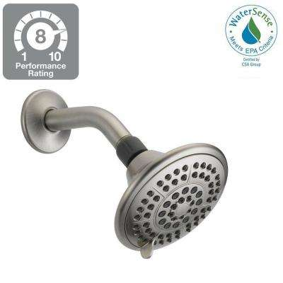 5-Spray 5 in. Fixed Shower Head with Pause in Brushed Nickel