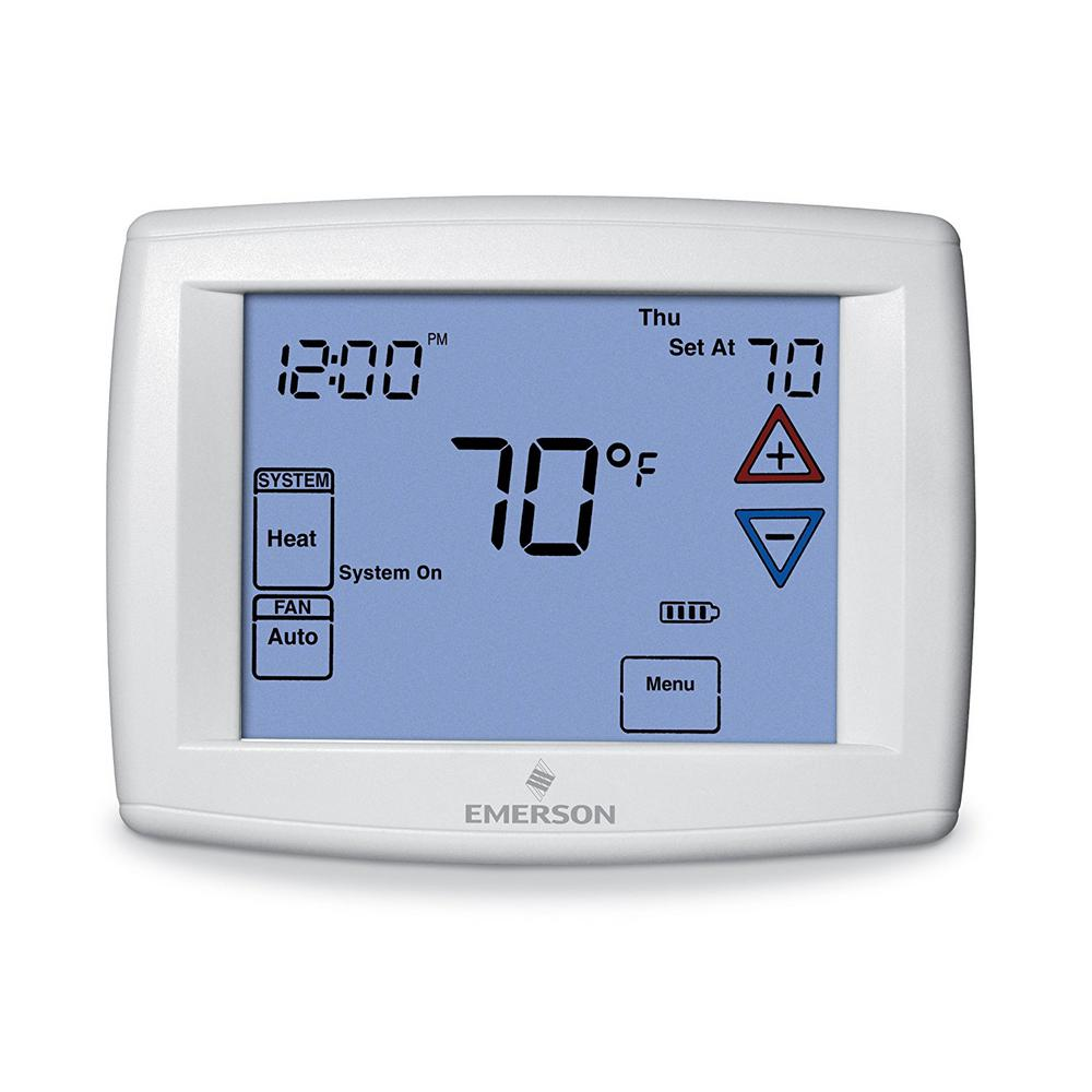 emerson touchscreen 7 day programmable thermostat 1f95 1277 the home depot. Black Bedroom Furniture Sets. Home Design Ideas
