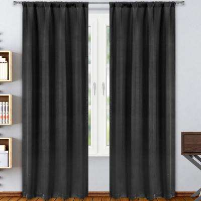 Solid Black Polyester Blackout Rod Pocket Window Curtain 38 in. W x 84 in. L (2-Pack)