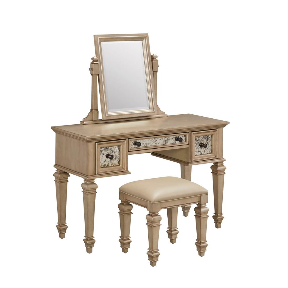 gold makeup vanity table. Home Styles Visions 2 Piece Silver Gold Champagne Vanity Set 5576 72