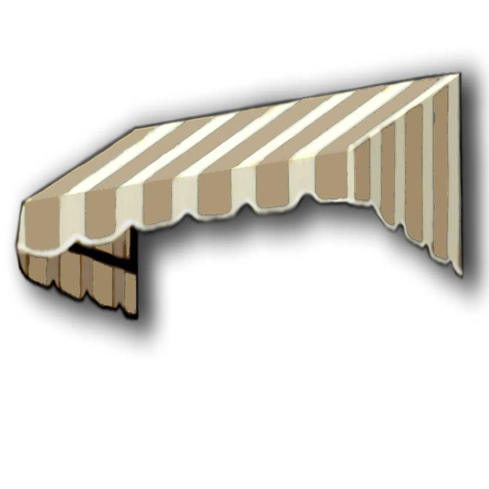 AWNTECH 8 ft. San Francisco Window/Entry Awning (56 in. H x 36 in. D) in Tan/White Stripe