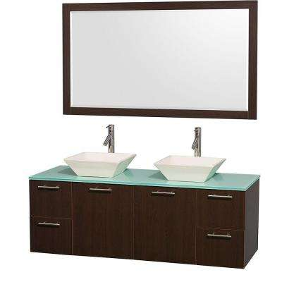 Amare 60 in. Double Vanity in Espresso with Glass Vanity Top in Aqua and Porcelain Sink