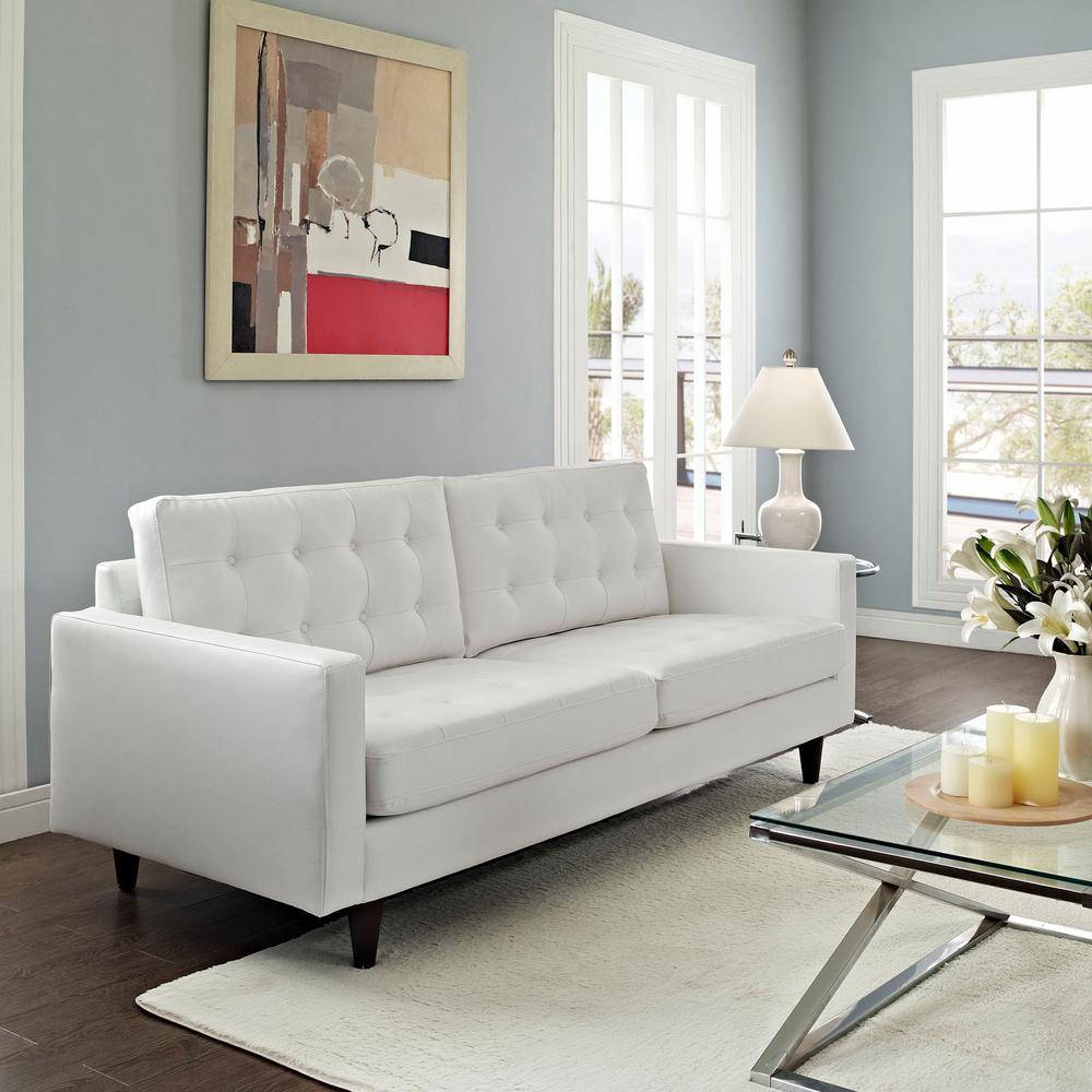 Modway Empress White Bonded Leather Sofa