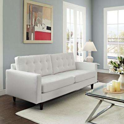 Empress White Bonded Leather Sofa