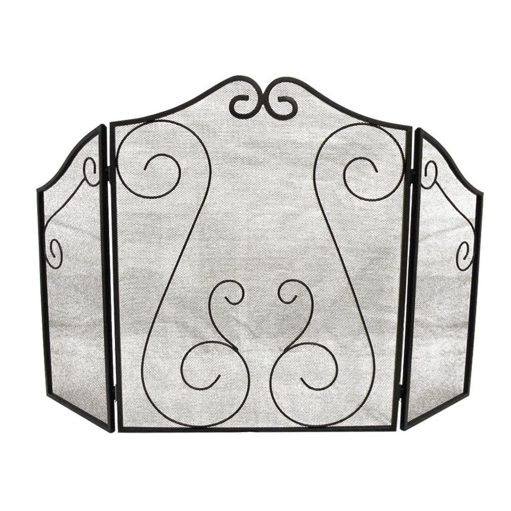 ShelterLogic Scrollwork Black 3 Panel Fireplace Screen