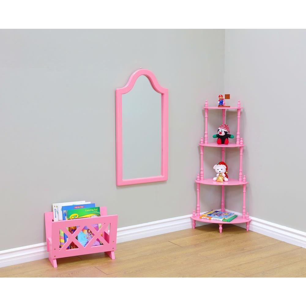 Homecraft Furniture 31.9 inch x 16.1 inch Kid's Framed Wall Mirror in Pink by Homecraft Furniture