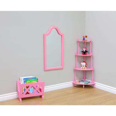 31.9 in. x 16.1 in. Kid's Framed Wall Mirror in Pink