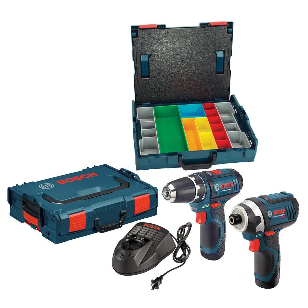 Bosch 12 Volt Lithium-Ion Cordless Combo Kit with Impact Driver and Drill/Driver and Hard Case (2-Tool)