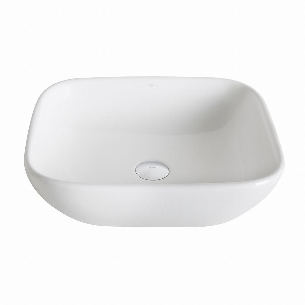 Kraus Elavo Soft Square Ceramic Vessel Bathroom Sink In