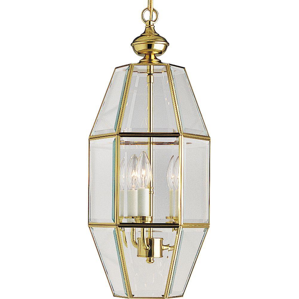 Progress Lighting 3-Light Polished Brass Foyer Pendant-DISCONTINUED