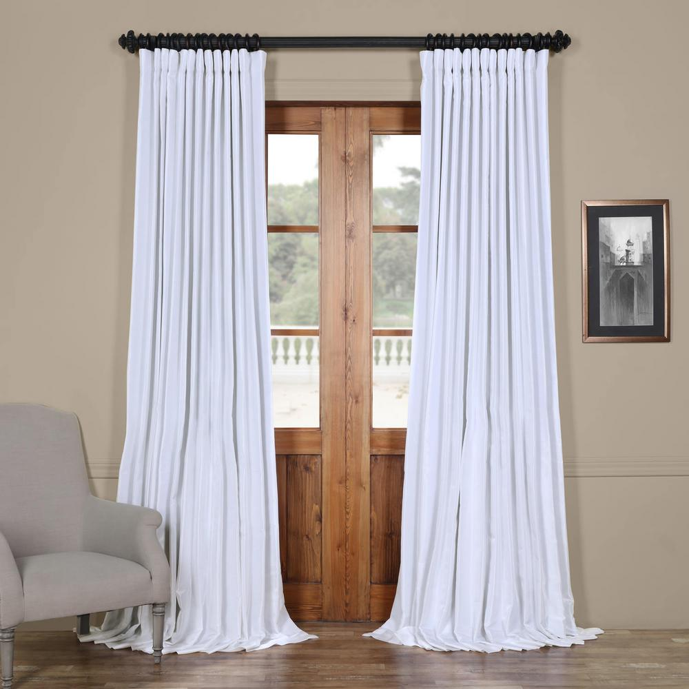 Exclusive Fabrics & Furnishings Ice White Blackout Extra Wide Vintage Textured Faux Dupioni Curtain - 100 in. W x 96 in. L