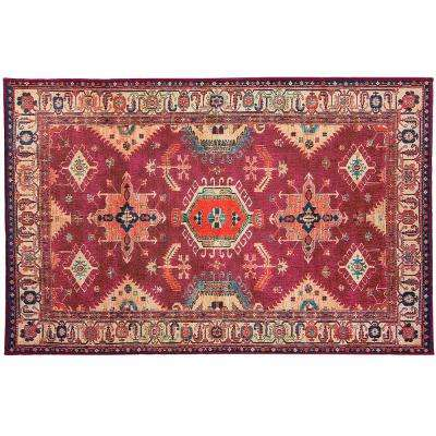 Washable Noor Ruby 3 ft. x 5 ft. Stain Resistant Accent Rug