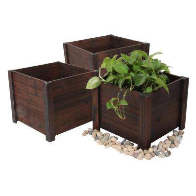 16 in. W x 16 in. D x 14 in. H Brown Wooden Large Square Planter (3-Pack)