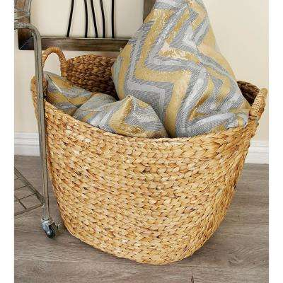 Handcrafted Rope Woven Seagrass Basket with 2-Handles