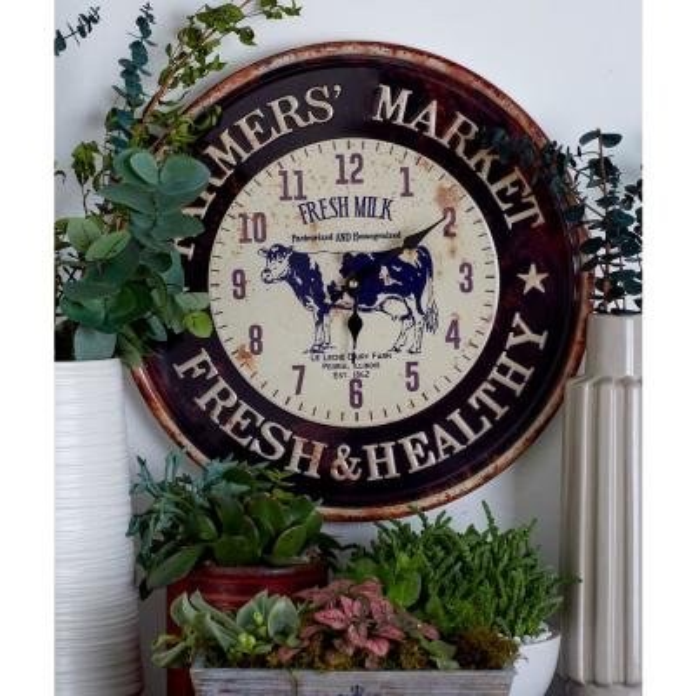 Multi-Colored Farmhouse-Themed Wall Clocks (Set of 2)