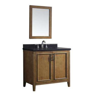 Daniel 36 in. W x 22 in. D Vanity in Nutmeg with Granite Vanity Top in Black with White Basin