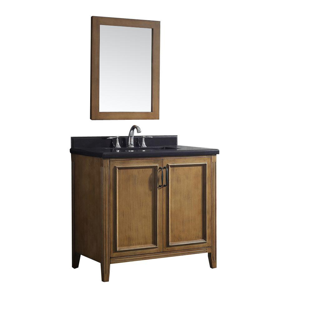 Pegasus Daniel 36 in. W x 22 in. D Vanity in Nutmeg with Granite Vanity Top in Black with White Basin