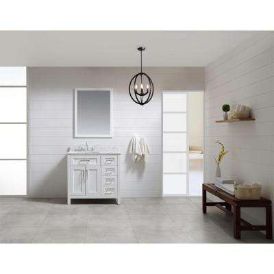 OVE Tahoe 36 in. W x 21 in. D Vanity in White with Carrera Marble Vanity Top in White with White Basin and Mirror