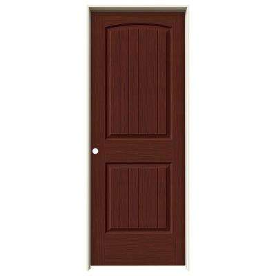 32 in. x 80 in. Santa Fe Black Cherry Stain Right-Hand Solid Core Molded Composite MDF Single Prehung Interior Door
