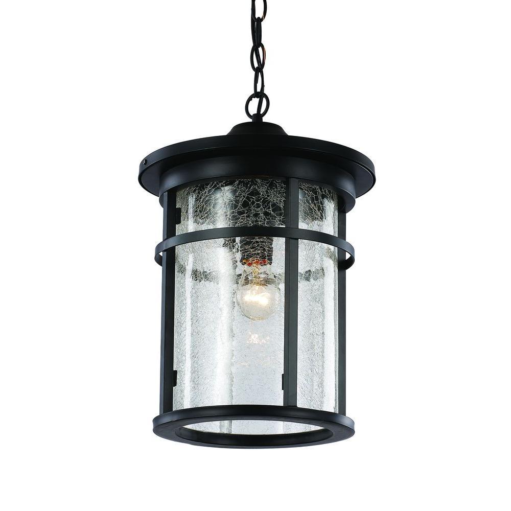 1-Light Black Outdoor Crackled Outdoor Hanging Lantern