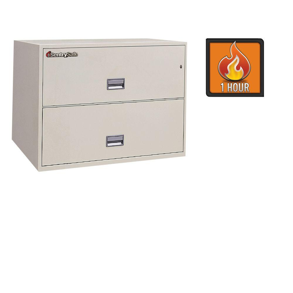 SentrySafe 2 Drawer 5.62 cu.ft. Steel Fire Resistant Lateral File with Key Lock, Putty