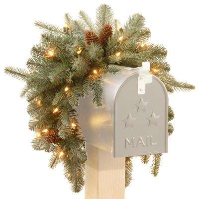 36 in. Frosted Arctic Spruce Mailbox Swag with Battery Operated Warm White LED Lights