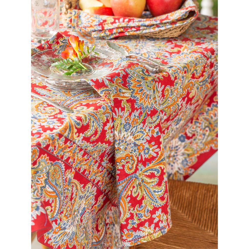"Rhapsody Red Paisley 60"" x 90"" Rectangular Tablecloth"