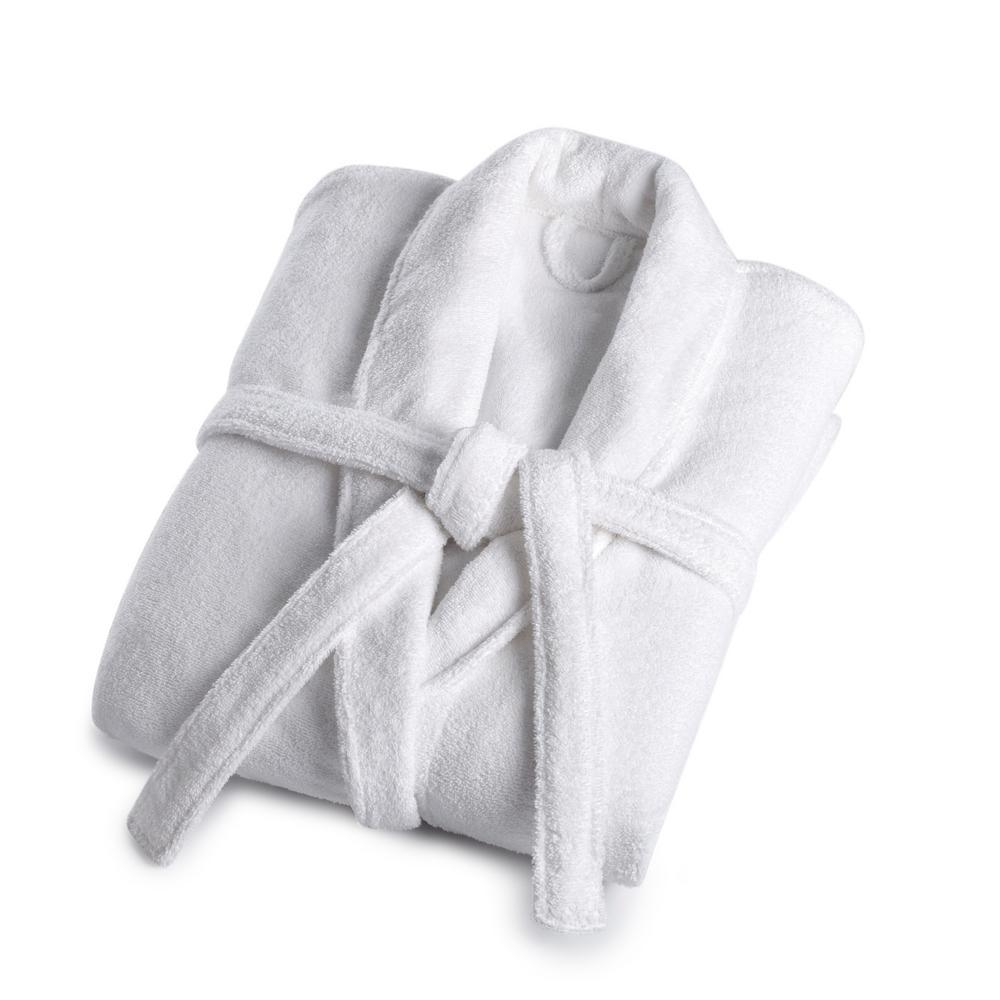 VW 1-Piece Solid White Medium/Large Cotton Bath Robe
