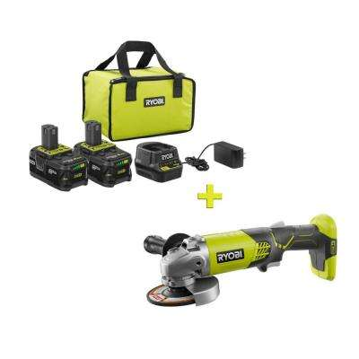 18-Volt ONE+ High Capacity 4.0 Ah Battery (2-Pack) Starter Kit with Charger and Bag w/FREE ONE+ 4-1/2 in Angle Grinder
