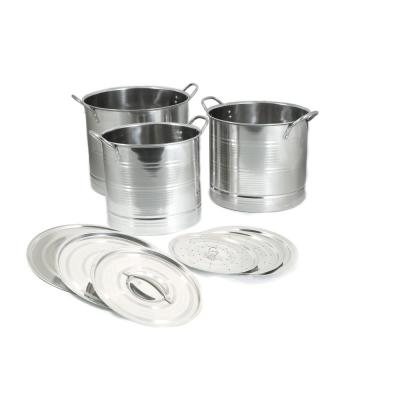 9-Piece Stainless Steel Stock Pot Set with Steamer Inserts and Lids