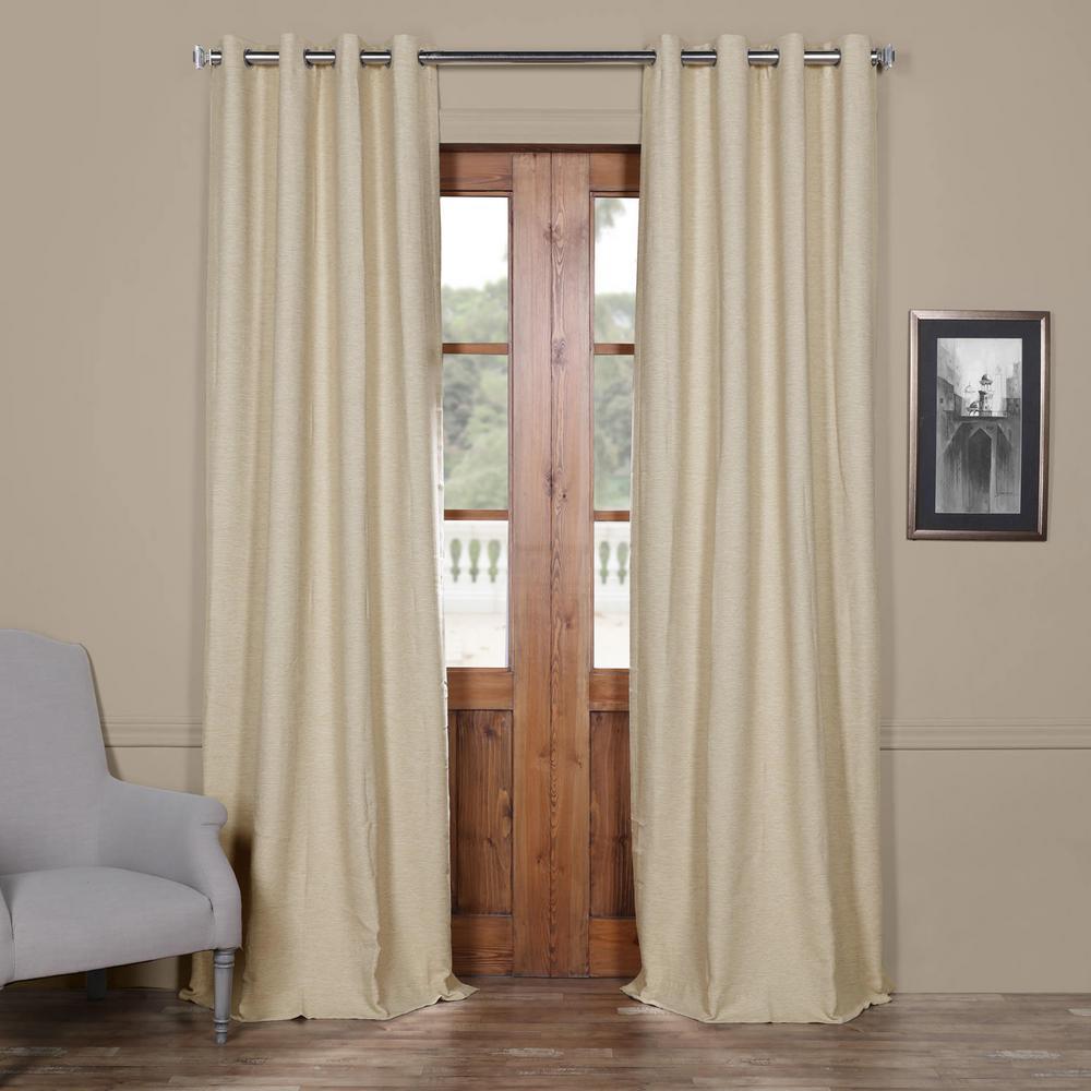 Semi-Opaque Candlelight Beige Bellino Grommet Blackout Curtain - 50 in. W x 96 in. L (Panel)