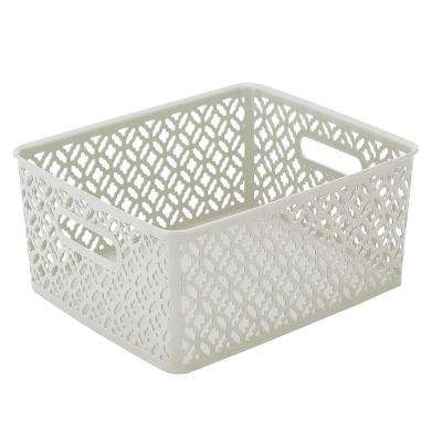 14 in. x 11.5 in. x 5.3 in. Trellis Medium Storage Bin in White