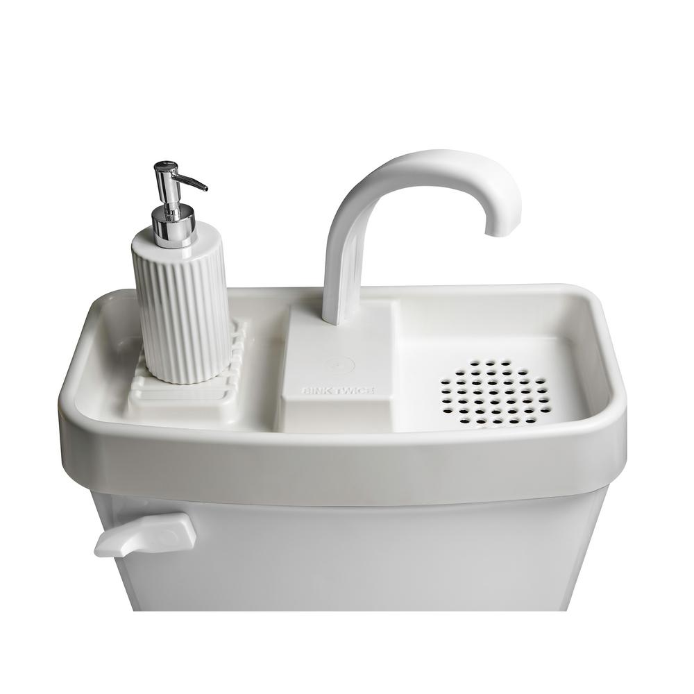 Sinktwice Toilet Tank Cover Faucet And Sink Combo In White