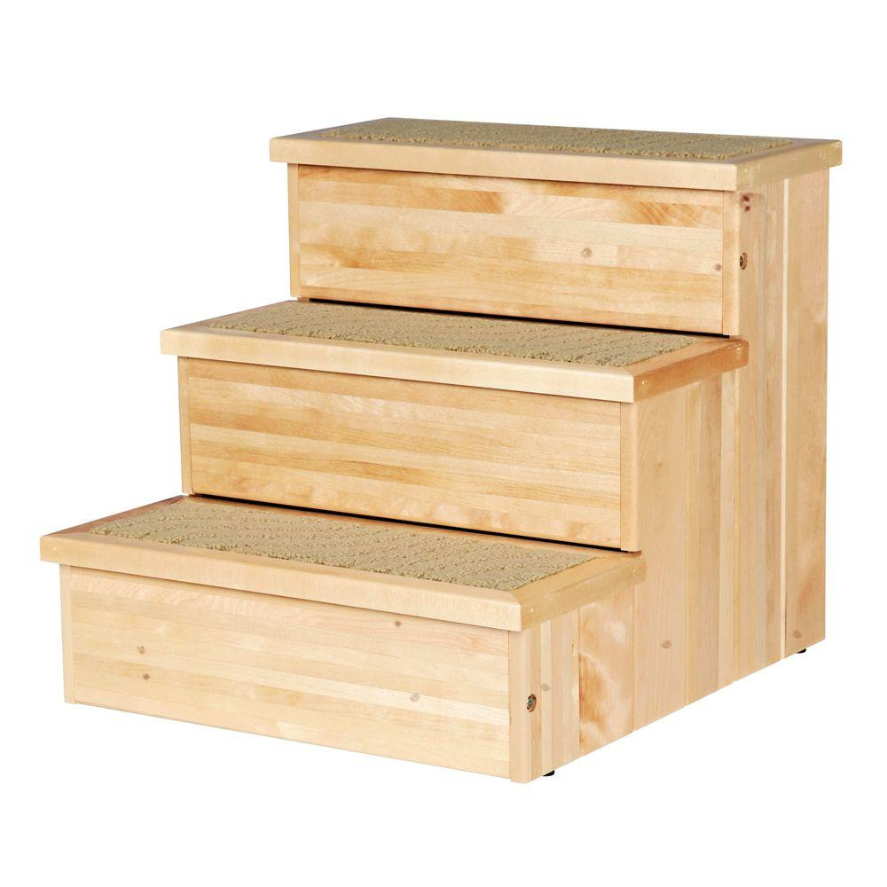 trixie natural birch wooden pet stairs 3943 the home depot. Black Bedroom Furniture Sets. Home Design Ideas