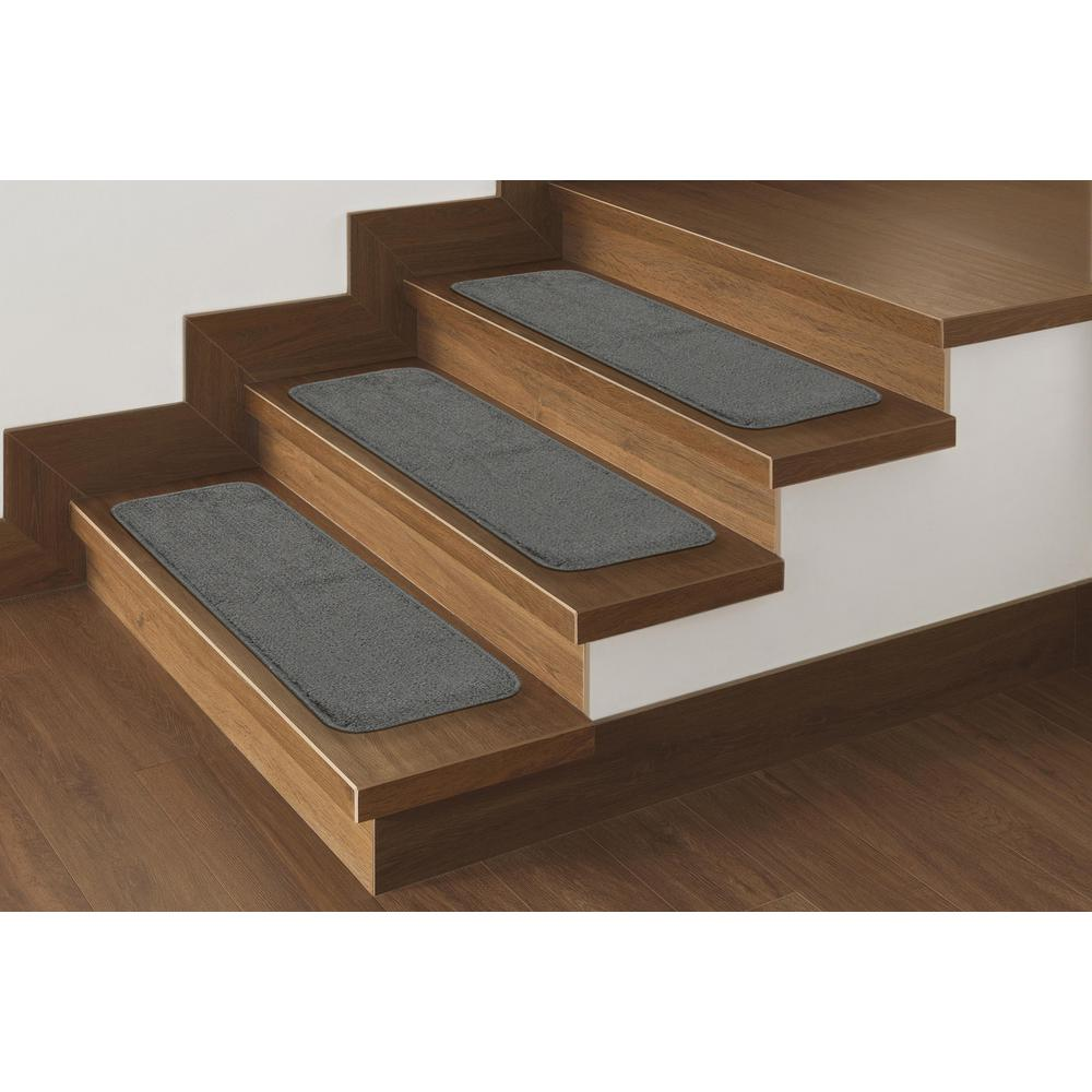 Perfect Ottomanson Softy Collection Gray 9 In. X 26 In. Rubber Back Stair Tread  Cover