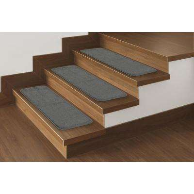 Softy Collection Gray 9 in. x 26 in. Rubber Back Stair Tread (Set of 7)