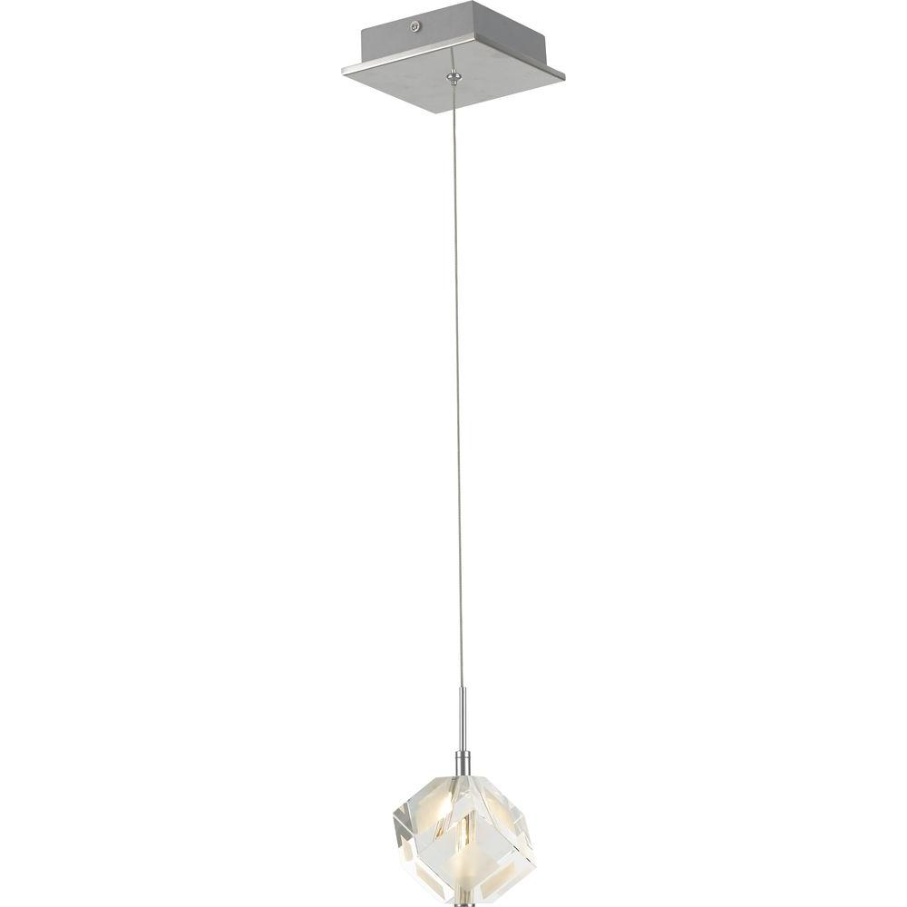Decor Living 1-Light Chrome Cube Mini-Pendant with K9 Crystal