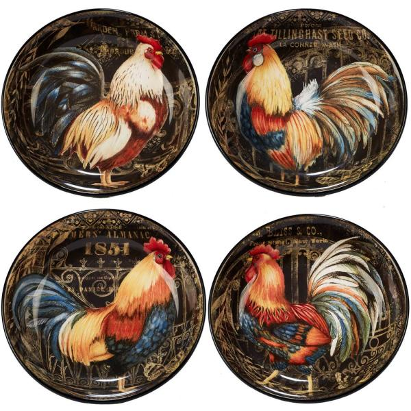 Gilded Rooster 4-Piece Multi-Colored 9.25 in. x 2 in. Soup/Pasta Bowl Set