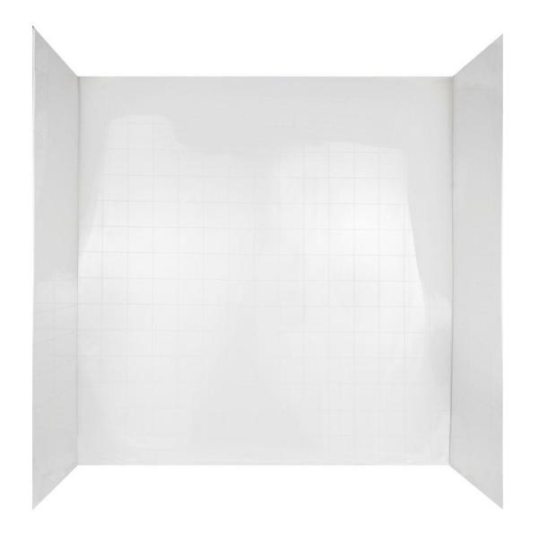 Tilekit 30 in. x 60 in. x 60 in. 3-Piece Easy Up Adhesive Tub Wall in White